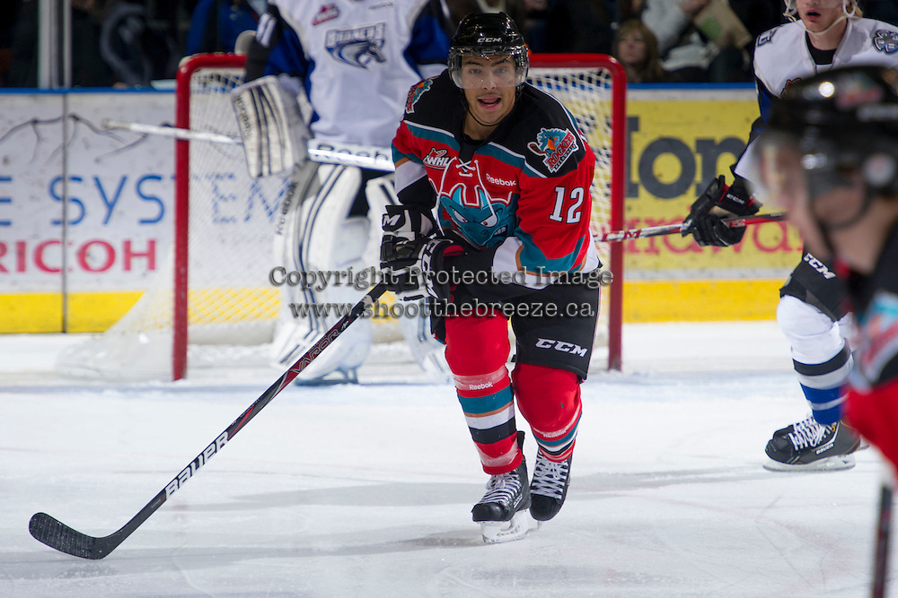 KELOWNA, CANADA - DECEMBER 5: Tyrell Goulbourne #12 of the Kelowna Rockets skates on the ice against the Swift Current Broncos at the Kelowna Rockets on December 5, 2012 at Prospera Place in Kelowna, British Columbia, Canada (Photo by Marissa Baecker/Shoot the Breeze) *** Local Caption ***