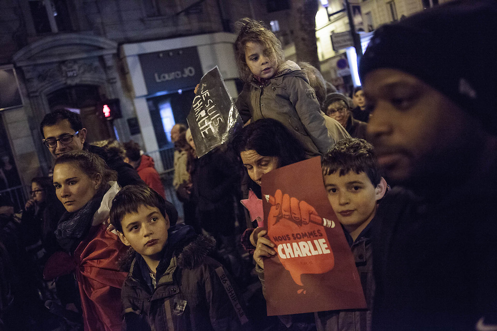 Parigi, 11 gennaio 2015. Manifestazione nazionale di unità nazionale contro gli attentati dei giorni precedenti. / Paris, janury the 11th. National demonstration after terroristic assassinations.