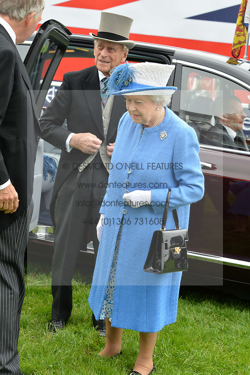 HM THE QUEEN and HRH The DUKE OF EDINBURGH at the Investec Derby at Epsom Racecourse, Epsom, Surrey on 4th June 2016.