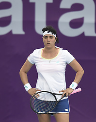 DOHA, Feb. 12, 2018  Ons Jabeur of Tunisia reacts during the single's first round match against Duan Yingying of China at the 2018 WTA Qatar Open in Doha, Qatar, on Feb. 12, 2018. Duan Yingying won 2-0. (Credit Image: © Nikku/Xinhua via ZUMA Wire)