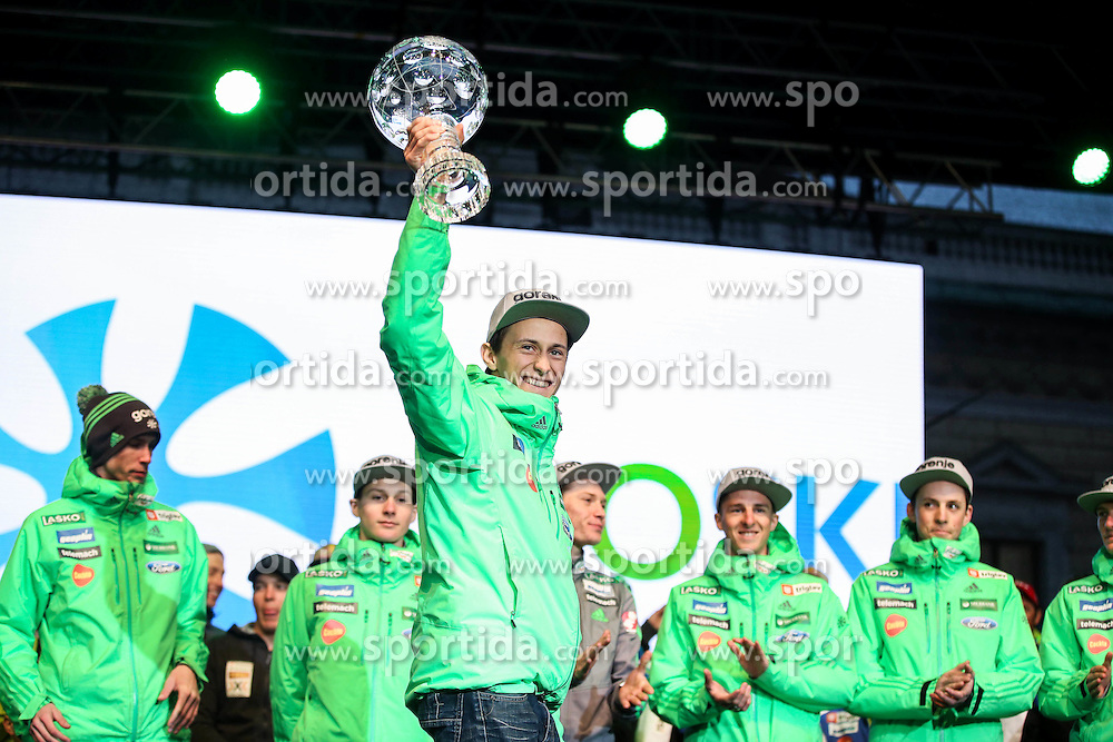 Peter Prevc with a globe during reception of Slovenian Winter athletes after the end of season 2015/16, on March 22, 2016 in Kongresni trg, Ljubljana, Slovenia. Photo by Matic Klansek Velej / Sportida