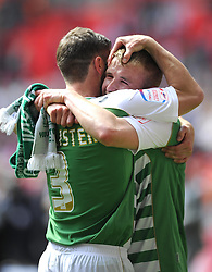 Yeovil Town's Paddy Madden and Yeovil Town's Jamie McAllister celebrate winning the League One Play Off Final  - Photo mandatory by-line: Joe Meredith/JMP - Tel: Mobile: 07966 386802 19/05/2013 - SPORT - FOOTBALL - LEAGUE 1 - PLAY OFF - FINAL - Wembley Stadium - London - Brentford V Yeovil Town