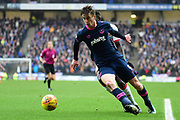 Portsmouth striker Oliver Hawkins (9) holds off Milton Keynes Dons Dons midfielder Ousseynou Cisse (8) during the EFL Sky Bet League 1 match between Milton Keynes Dons and Portsmouth at stadium:mk, Milton Keynes, England on 10 February 2018. Picture by Dennis Goodwin.