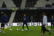 Derby County players warming up during the EFL Sky Bet Championship match between Derby County and Sheffield Wednesday at the Pride Park, Derby, England on 11 December 2019.