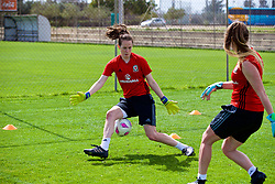LARNACA, CYPRUS - Thursday, March 1, 2018: Wales' goalkeeper Laura O'Sullivan during a training session in Larnaca on day three of the Cyprus Cup tournament. (Pic by David Rawcliffe/Propaganda)