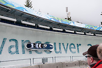 Teams from Serbia compete in the four-man bobsleigh finals during the 2010 Olympic Winter Games in Whistler, BC Canada.