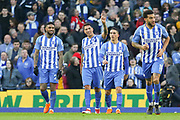 Brighton and Hove Albion striker Leonardo Ulloa (16) celebrates his goal 3-0 during the The FA Cup match between Brighton and Hove Albion and Coventry City at the American Express Community Stadium, Brighton and Hove, England on 17 February 2018. Picture by Phil Duncan.