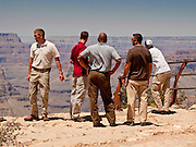 15 AUGUST 2009 -- GRAND CANYON NATIONAL PARK -- Members of President Obama's advance team inspect and overlook on the South Rim of the Grand Canyon. President Barack Obama and his family are expected to visit the Grand National Park near Tusayan Sunday.   PHOTO BY JACK KURTZ