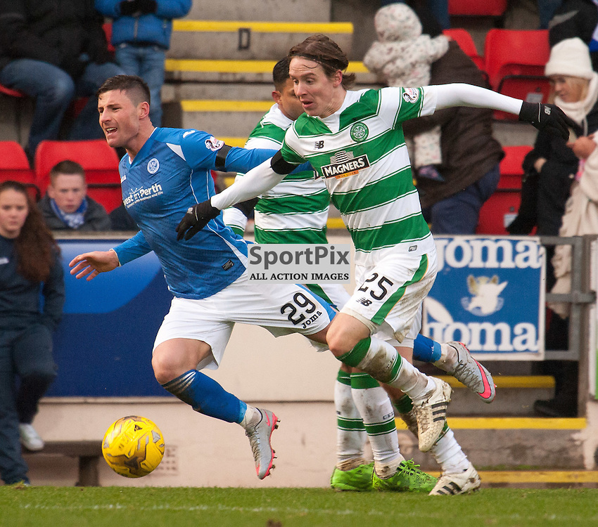 #29 Michael O'Halloran (St Johnstone) is brought down by #3 Emilio Izaguirre (Celtic) as #25 Stefan Johansen (Celtic) provides additional cover<br /> <br /> St Johnstone v Celtic &bull; Ladbrokes Premiership &bull; 13 December 2015<br /> <br /> &copy; Russel Hutcheson | SportPix.org.uk