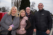 19th March 2016, Gordon Elliott trained Don Cossack homecoming to Summerhill<br /> Pictured in Summerhill waiting for the homecoming of Gordon Elliott train Don Cossack, L-R, Lorainne Keating, Brigid Manley, Tim Buckley & Emmet Rice (All Longwood)<br /> Photo: David Mullen /www.cyberimages.net / 2016