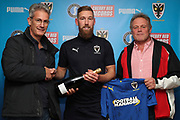 AFC Wimbledon midfielder Scott Wagstaff (7) presentation during the EFL Sky Bet League 1 match between AFC Wimbledon and Shrewsbury Town at the Cherry Red Records Stadium, Kingston, England on 3 November 2018.