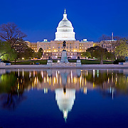 The United States Capitol Building, Washington DC, with reflection on the Capitol Reflecting Pool. High resolution panorama.