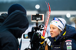 November 24, 2018 - Ruka, FINLAND - 181124 Hanna Falk of Sweden talks to media after  competing in a women's sprint classic technique quarterfinal during the FIS Cross-Country World Cup premiere on November 24, 2018 in Ruka  (Credit Image: © Carl Sandin/Bildbyran via ZUMA Press)