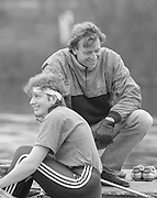 Staines, GREAT BRITAIN,   <br /> Sitting Sue SMITH and Hugh MATHERSON.<br /> British Rowing Women's Heavy Weight Assessment. Thorpe Park. Sunday 21.02.1988,<br /> <br /> [Mandatory Credit, Peter Spurrier / Intersport-images] 19880221 GBR Women's H/Weight Assesment Thorpe Park, Surrey.UK