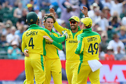 Wicket - Adam Zampa of Australia celebrates taking the wicket of Hashmatullah Shahidi of Afghanistan during the ICC Cricket World Cup 2019 match between Afghanistan and Australia at the Bristol County Ground, Bristol, United Kingdom on 1 June 2019.