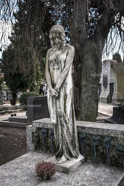 Milano, Lombardia, Italia, Cimitero Monumentale. Monumental Cemetery. Stile Liberty, style. Tomba Campiglio, grave.