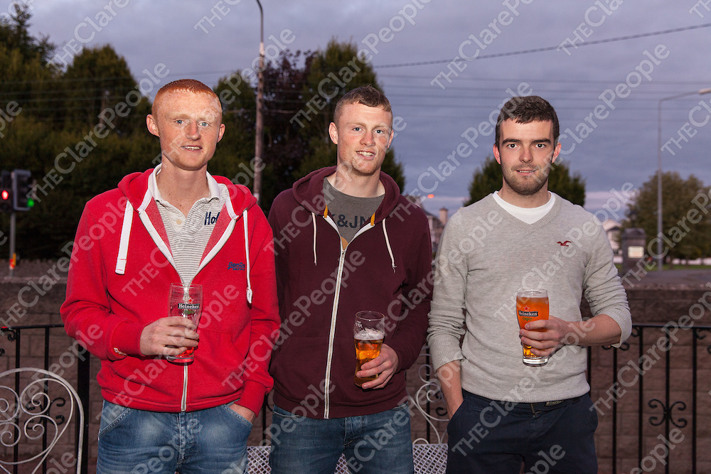 Alan Kelly, John Mulready and David O'Grady, players, at the Oscar Traynor BBQ on Friday night in the West County Hotel