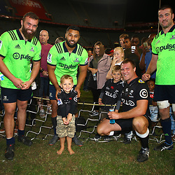 DURBAN, SOUTH AFRICA - MAY 05: Liam Coltman - Lima Sopoaga and Alex Ainley of the Pulse Energy Highlanders with ex team mate Ross Geldenhuys of the Cell C Sharks during the Super Rugby match between Cell C Sharks and Highlanders at Jonsson Kings Park Stadium on May 05, 2018 in Durban, South Africa. (Photo by Steve Haag/Gallo Images)