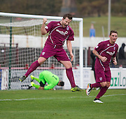 Steven Doris celeberates after his goal had put Arbroath 3-1 up - Arbroath v Stirling University FC, William Hill Scottish Cup Second Round at Gayfield, Arbroath. Photo: David Young<br /> <br />  - &copy; David Young - www.davidyoungphoto.co.uk - email: davidyoungphoto@gmail.com