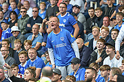 One angry Portsmouth fan supporter during the EFL Sky Bet League 1 match between Portsmouth and Oxford United at Fratton Park, Portsmouth, England on 18 August 2018.