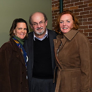 Author Salman Rushdie backstage with Particia Lynch and Margaret Talcott after speaking at a Writers On A New England Stage show at The Music Hall in Portmouth, NH.