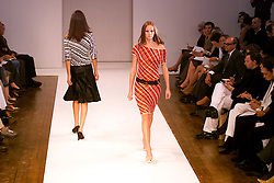 Nicole Farhi collection at London Fashion Week Spring Summer 2001. .Model on the catwalk wears stripy dress. 26/9/2000.Photo by Andrew Parsons/i-Images.All Rights Reserved ©Andrew Parsons/i-images.See Instructions.
