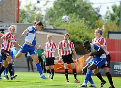 Tom Lockyer of Bristol Rovers heads in Rovers goal - Mandatory by-line: Neil Brookman/JMP - 25/07/2015 - SPORT - FOOTBALL - Cheltenham Town,England - Whaddon Road - Cheltenham Town v Bristol Rovers - Pre-Season Friendly