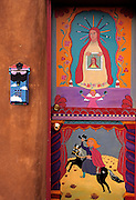 Image of a colorful painted door on Canyon Road in Santa Fe, New Mexico, American Southwest, unreleased