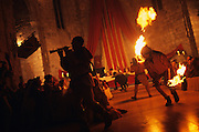 SPAIN / Tarragona / Montblanc. Medieval recreations in Spain. Banquet at night. This village celebrates every April the Medieval week of Saint George.....