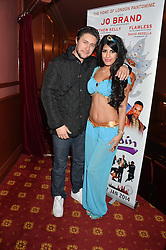 TONY DISCIPLINE and JASMIN WALLA at a VIP evening for the pantomime Aladdin at The New Wimbledon Theatre, The Broadway, Wimbledon, London SW19 on 9th December 2013.