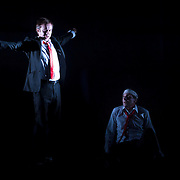 October 3, 2012 - Brooklyn, NY : Philippe Demarie, left, and Serge Maggiani perform in a technical rehearsal of the Théâtre de la Ville's production of French-Romanian playwright Eugène Ionesco's 1959 play 'Rhinocéros' at BAM in Brooklyn on Wednesday night. The traveling production will perform from Oct. 4-6, 2012. CREDIT: Karsten Moran for The New York Times