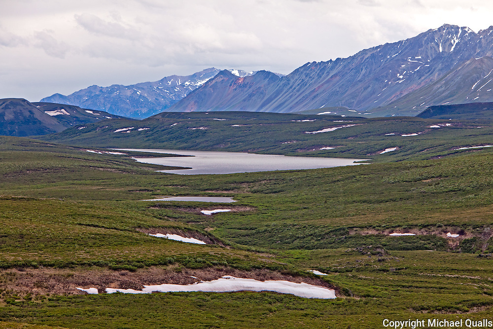 Kettle Lakes alongside the Denali Highway with the Alaska Range behind.  Between Paxson and Cantwell.