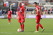*** York City midfielder Luke Summerfield and York City midfielder James Berrett stand over a free kick County and York City at Rodney Parade, Newport, Wales on 5 September 2015. Photo by Simon Davies.