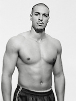Black and white portrait of a physically fit young man<br />