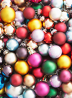 Pile of Christmas baubles full frame