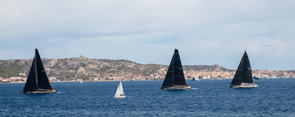From Left to Right: LYRA, NAHITA and J ONE during the Rolex Maxi Cup 2017, Costa Smeralda, Porto Cervo Yacht Club Costa Smeralda (YCCS), Sardinia, Italy.