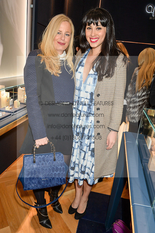 Left to right, ASTRID HARBORD and MELISSA HEMSLEY at a party to celebrate the launch of the APM Monaco Flagship Store at 3 South Molton Street, London on 11th February 2016