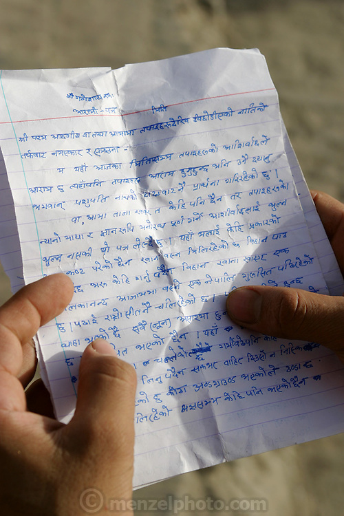 This is the last letter written by a young Nepalese boy studying sanskrit at an ashram in Varanasi who was swimming with friends in the Ganges River and drowned.