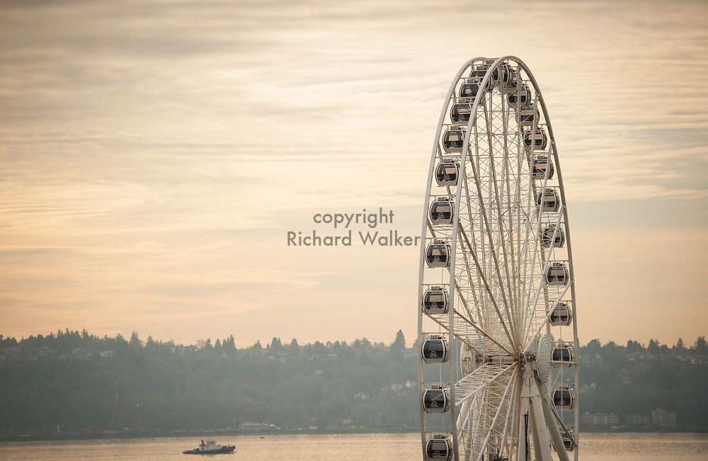 2017 DECEMBER 12 - View of Seattle Great Wheel and Elliott Bay. In the background is West Seattle. By Richard Walker