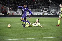 January 27, 2019 - Toulouse, France - Faute de Romain Thomas (sco) sur Mathieu Dossevi  (Credit Image: © Panoramic via ZUMA Press)