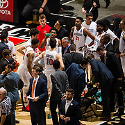 03 February 2018: The San Diego State Aztecs look to rebound after a couple losses against Air Force Saturday night. San Diego State Aztecs head coach Brian Dutcher talks with his team during a time out during a game against the Air Force Falcons. The Aztecs lead 35-21 at the half at Viejas Arena.<br /> More game action at www.sdsuaztecphotos.com