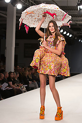 © Licensed to London News Pictures. 31/05/2014. London, England. Collection by Jodi Worbey from Northumbria University Newcastle. Graduate Fashion Week 2014, Runway Show at the Old Truman Brewery in London, United Kingdom. Photo credit: Bettina Strenske/LNP