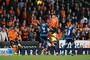 30th August 2019; Dens Park, Dundee, Scotland; Scottish Championship, Dundee Football Club versus Dundee United; Calum Butcher of Dundee United scores for 1-0 in the 14th minute