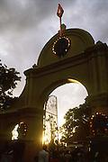 Main entrance to the Kataragama Devale at dusk.