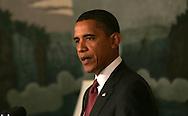 President Barack Obama makes a statement on the health care legislation on July 17, 2009.  ISP  agency pool photo by Dennis Brack/Black Star