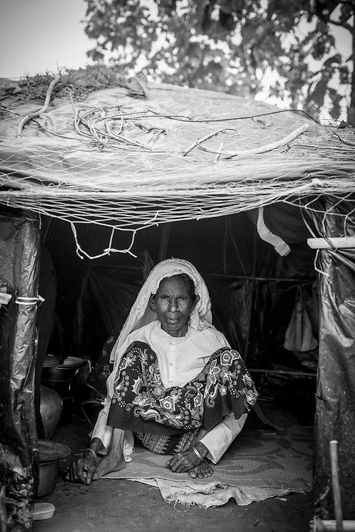 Rohingya woman in shelter at Jamtoli refugee camp, Bangladesh (October 26, 2017)