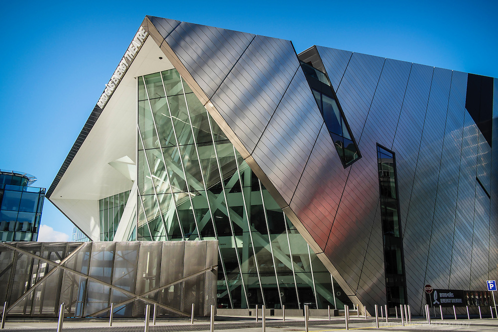 The front fascade of the Bord G&aacute;is Energy theatre in Dublin's Docklands City Quarter.<br /> <br /> For Editorial Use Only