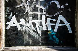 October 14, 2017 - Munich, Bavaria, Germany - The word ''ANTIFA'' scrawled on a wall in Munich, Germany.  ''Antifa'' stands for ''anti-fascist'' and is the label used by those who protest against the far- and radical-right, also known as ''alt-right' (Credit Image: © Sachelle Babbar via ZUMA Wire)