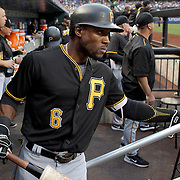 NEW YORK, NEW YORK - June 15: Starling Marte #6 of the Pittsburgh Pirates heads out of the dugout to bat during the Pittsburgh Pirates Vs New York Mets regular season MLB game at Citi Field on June 15, 2016 in New York City. (Photo by Tim Clayton/Corbis via Getty Images)