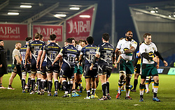 Sale Sharks and Northampton Saints players shake hands at full time - Mandatory by-line: Matt McNulty/JMP - 03/03/2017 - RUGBY - AJ Bell Stadium - Sale, England - Sale Sharks v Northampton Saints - Aviva Premiership